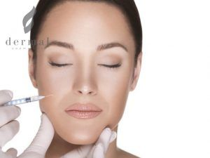 Facial injection of woman